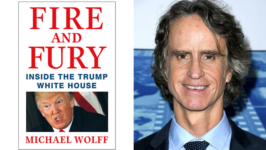 Fire and Fury book cover and Jay Roach-Split-H 2018