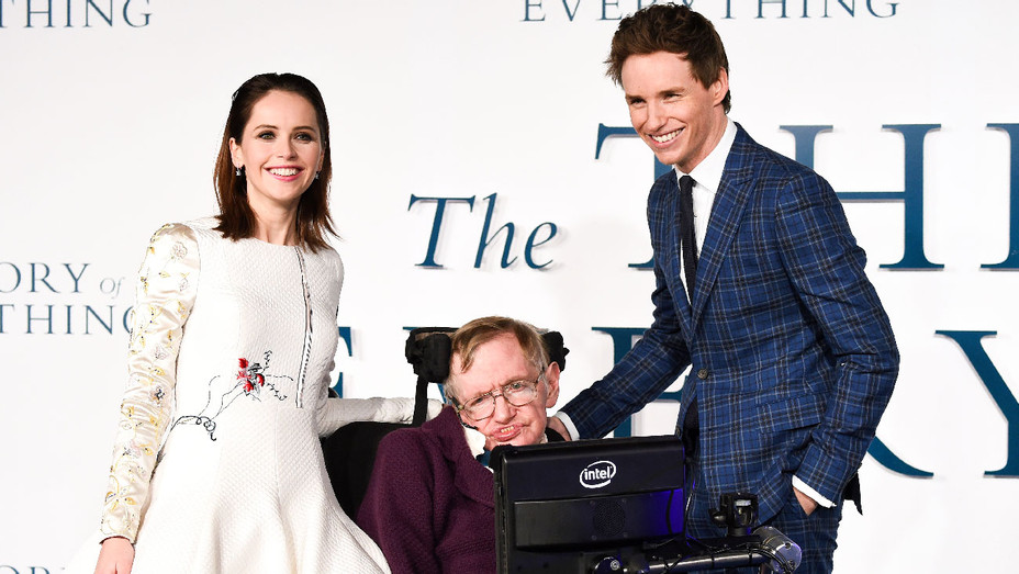 Felicity Jones, Stephen Hawking and Eddie Redmayne - 2014 The Theory of Everything UK Premiere - Getty - H 2018