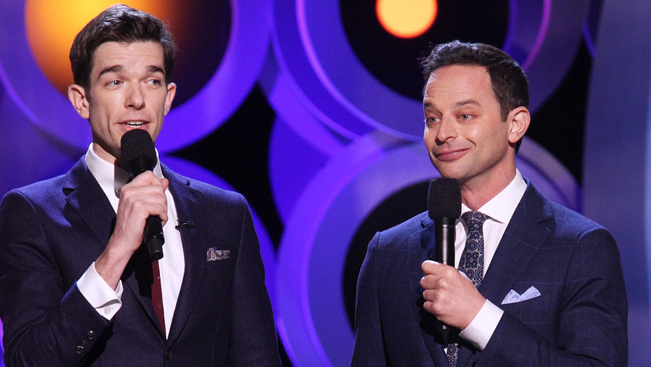 John Mulaney and Nick Kroll speak onstage during the 2018 Film Independent Spirit Awards - Getty-H 2018