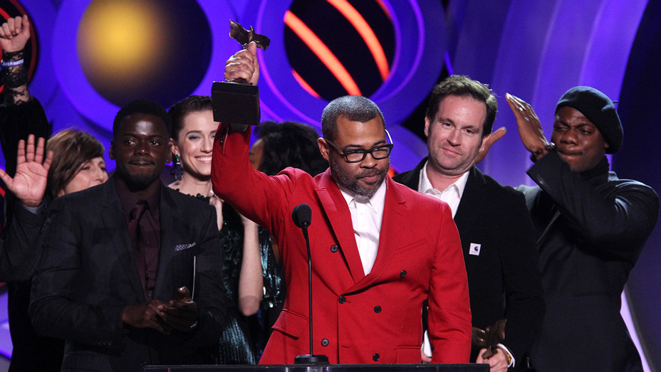 Jordan Peele accepts Best Feature for Get Out - 2018 Film Independent Spirit Awards -Getty-H 2018