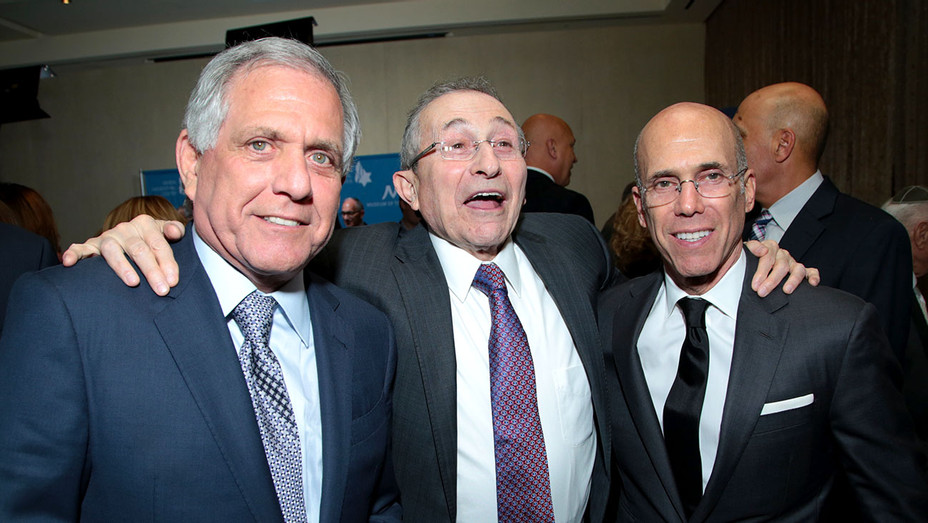 Wiesenthal Center Honors CBS CEO Leslie Moonves with Humanitarian Award- Moonves, Marvin Hier, and Jeffrey Katzenberg -H 2018