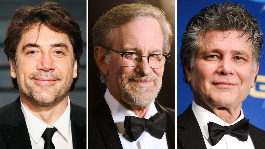Javier Bardem, Steven Spielberg and Steven Zaillian - Split - Getty - H 2018