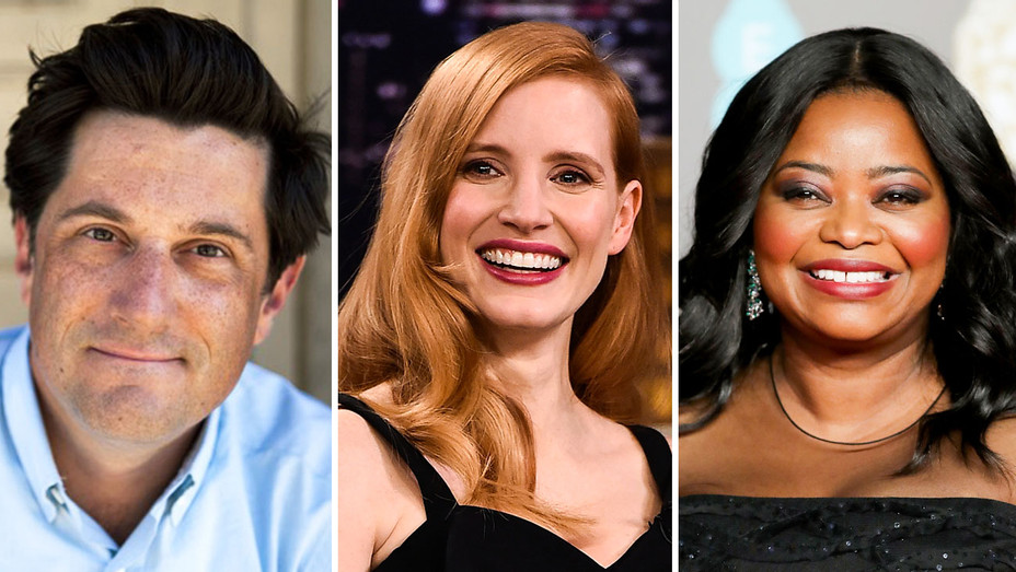 Michael Showalter, Jessica Chastain and Octavia Spencer 2 - Split - Getty - H 2018