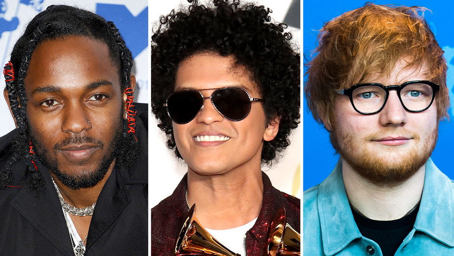 Kendrick Lamar, Bruno Mars and Ed Sheeran -Split-Getty-H 2018