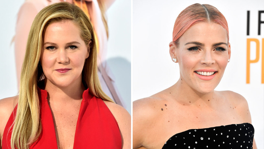 Amy Schumer and Busy Philipps - Split - Getty - H 2018