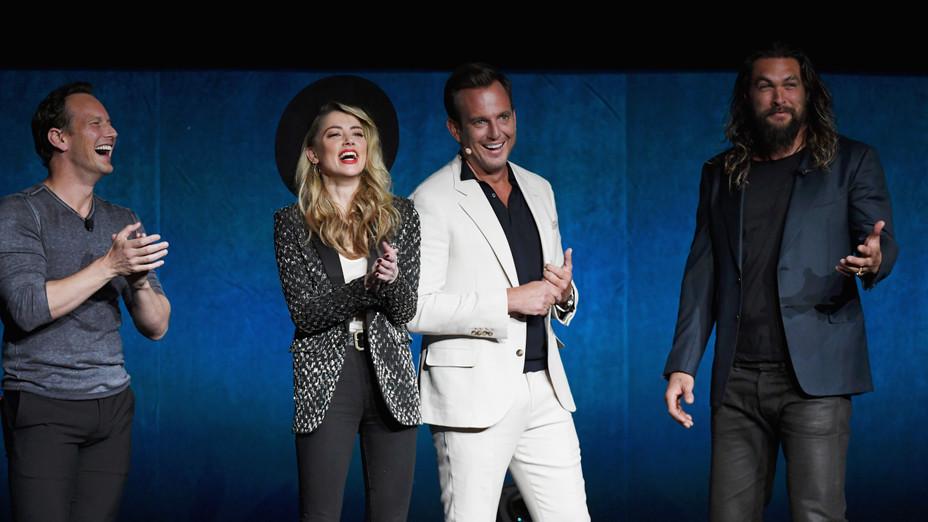 Amber Heard, Will Arnett, Jason Mamoa at CinemaCon - H Getty 2018