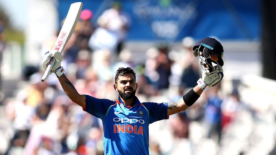 Cricket match -Virat Kohli celebrates reaching his century during the 3rd Momentum ODI match February 07, 2018 - Getty-H 2018