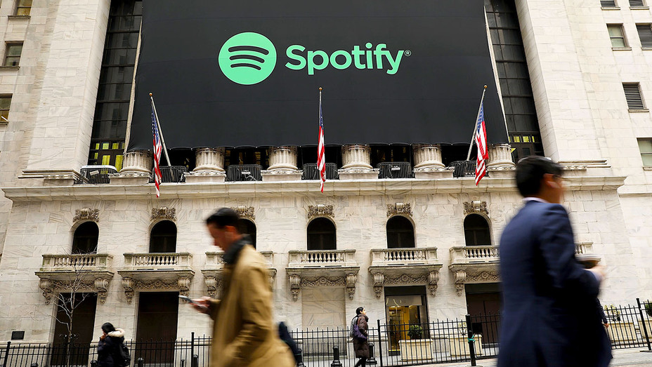 The Spotify banner hangs from the New York Stock Exchange - Getty-H 2018