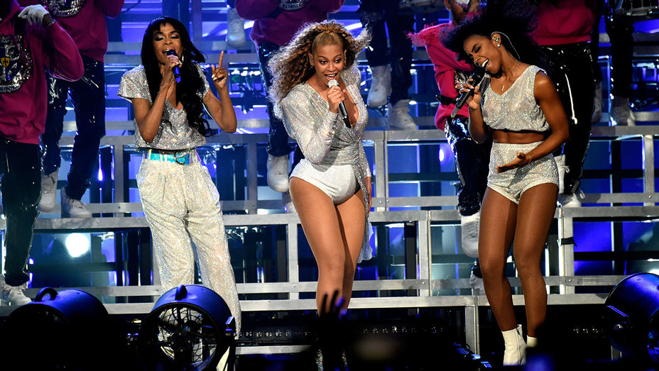 Michelle Williams, Beyonce Knowles and Kelly Rowland of Destiny's Child perform onstage - 2018 Coachella - Getty-H 2018