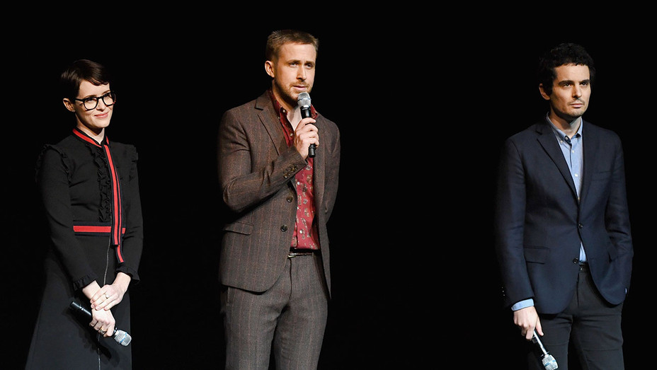 CinemaCon 2018 Universal Pictures  -Claire Foy, Ryan Gosling and director Damien Chazelle -Getty-H 2018