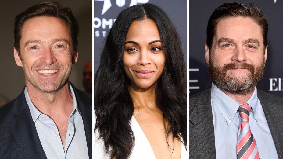 Hugh Jackman, Zoe Saldana, Zach Galifianakis - Split - Getty - H 2018