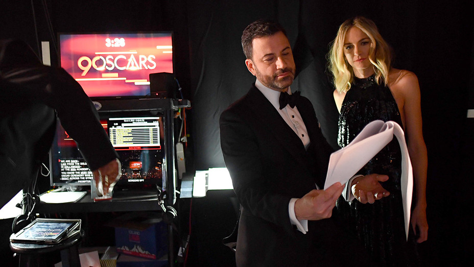 Jimmy Kimmel and Molly McNearney_BTS_Oscars - Getty - H 2018