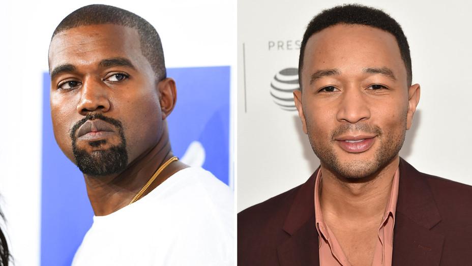 Kanye West and John Legend - Split - Getty - H 2018