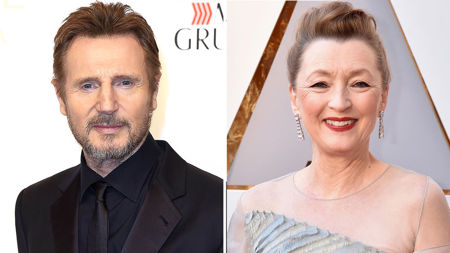 Liam Neeson and Lesley Manville -Split-Getty-H 2018