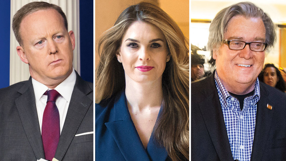 Sean Spicer, Hope Hicks and Steve Bannon - One Time Use Only - Split - AP - H 2018