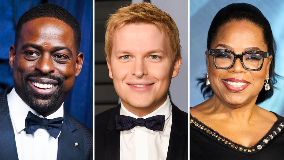 Sterling K. Brown, Ronan Farrow and Oprah - Split - Getty - H 2018