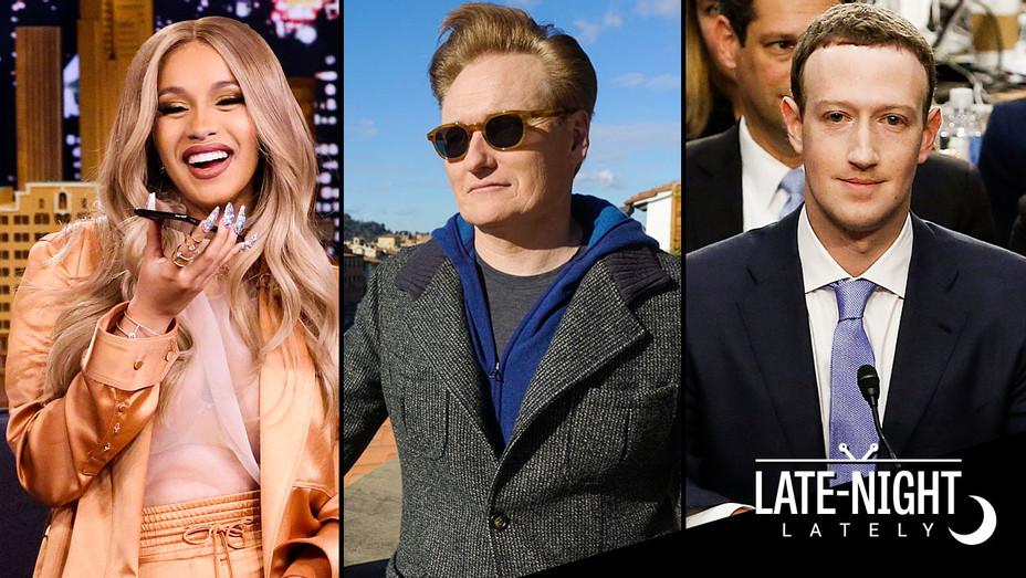 Late Night Lately Cardi B, Conan and Mark Zuckerberg - Split - Getty - H 2018