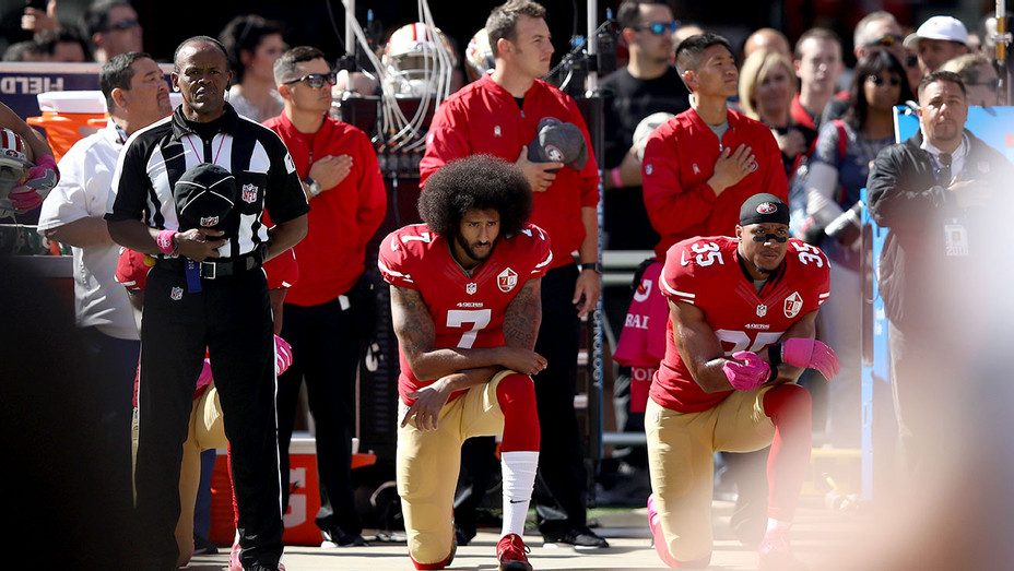Colin Kaepernick- kneel in protest during the national anthem prior to their NFL game- Getty-H 2018