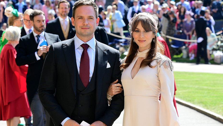 Patrick J Adams Troian Bellisario Windsor Castle Royal Wedding - Getty - H 2018