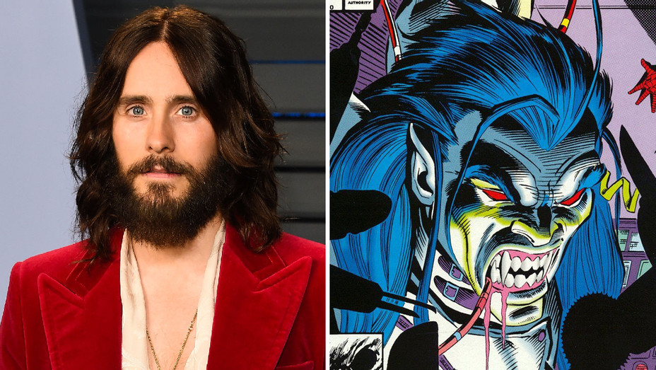 Jared Leto and Morbius the Living Vampire Cover Detail - Split - Getty - H 2018