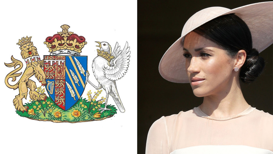 Meghan Markle and Coat of Arms - Split - Getty - H 2018