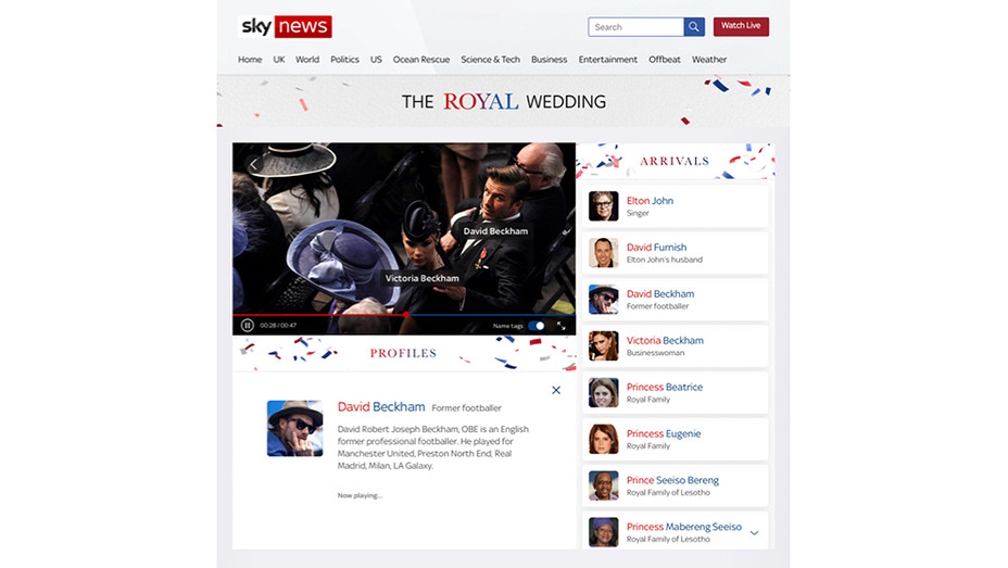 Sky News Royal Wedding Interface - Publicity - H 2018