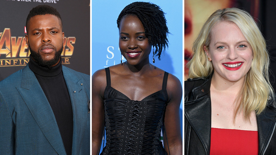Winston Duke Lupita Nyongo Elizabeth Moss Split - Getty - H 2018