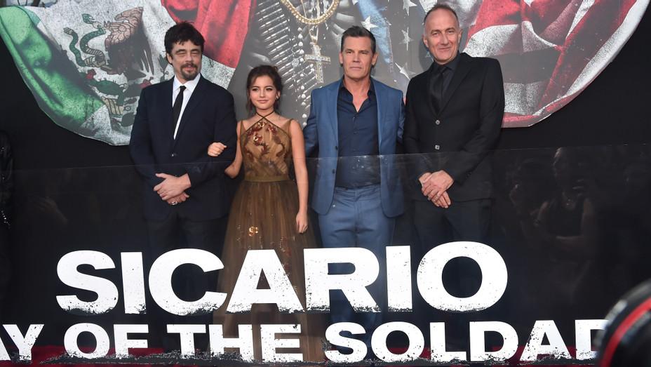 Benicio del Toro Isabella Moner Josh Brolin Steffano Sollima at Premiere of Sicario- Day Of The Soldado - Getty - H 2018