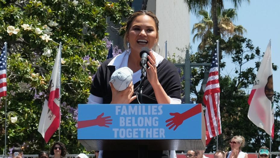 Chrissy Teigen Families Belong Together Rally - Getty - H 2018