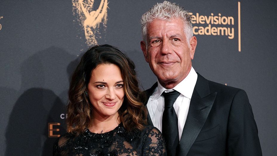 Asia Argento and Anthony Bourdain attend the 2017 Creative Arts Emmy Awards 2- Getty-H 2018