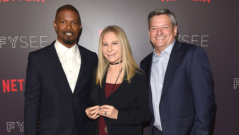 Jamie Foxx, Barbra Streisand and Netflix CCO Ted Sarandos - Conversation At Netflix's FYSEE -Getty-H 2018