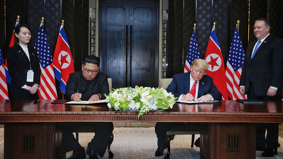 Kim Jong-un with U.S. President Donald Trump -June 12, 2018  - Getty-H 2018