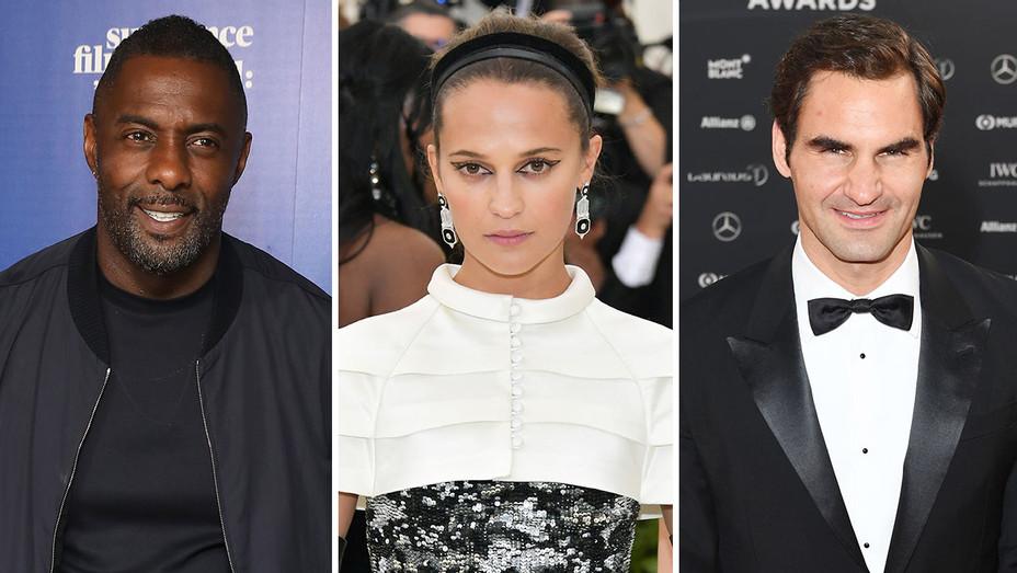 Idris Elba, Alicia Vikander and Roger Federer_Split - Getty - H 2018