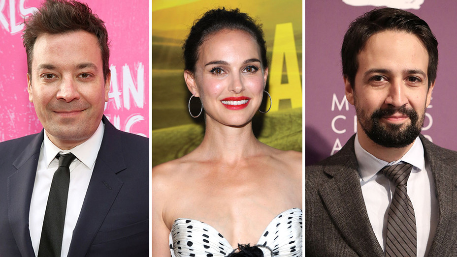 Jimmy Fallon -Natalie Portman -Lin Manuel-Miranda Split-Getty-H 2018