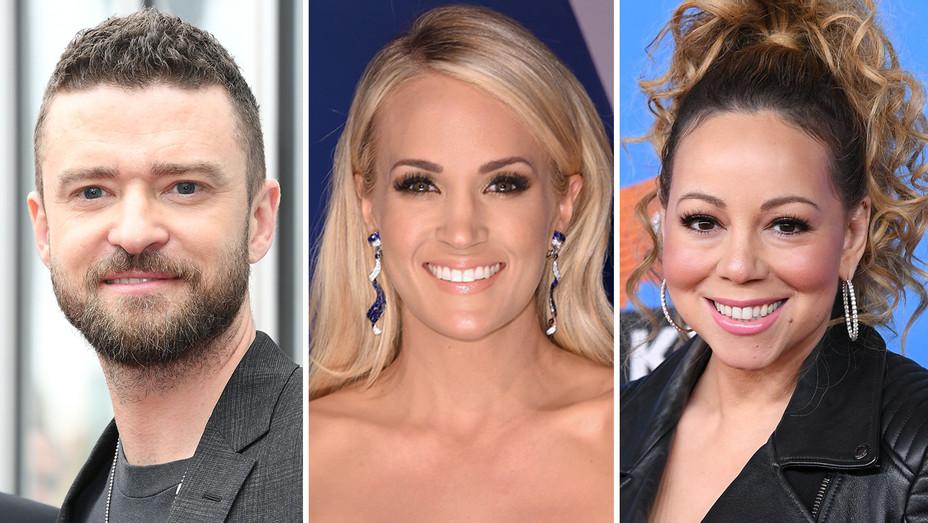 Justin Timberlake Carrie Underwood Mariah Carey - Getty - H Split 2018