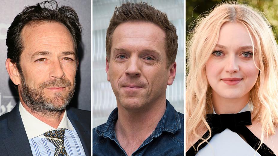 Luke Perry, Damian Lewis and Dakota Fanning - Split - Getty - H 2018