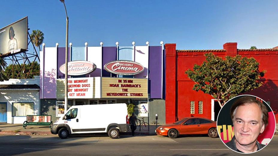 New Beverly Theater in West Los Angeles Google maps-and Inset of QT-Getty-H 2018