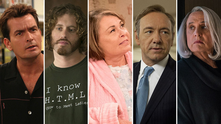 Two and a Half Men_Silicon Valley_Roseanne_House of Cards_Transparent_Split - Publicity - H 2018