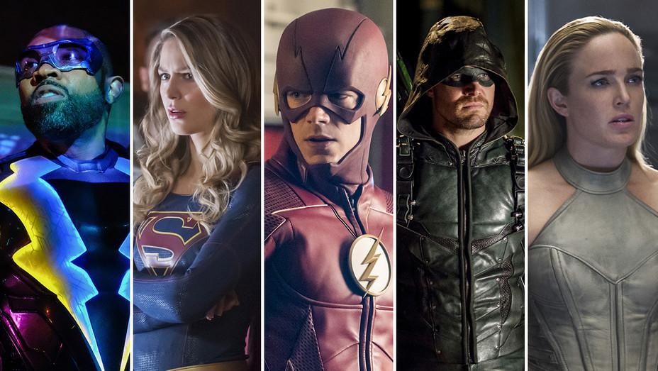 Williams Lightning Benoist Supergirl Gustin Flash Amell Arrow Lotz Tomorrow Split - Photofest - H 2018