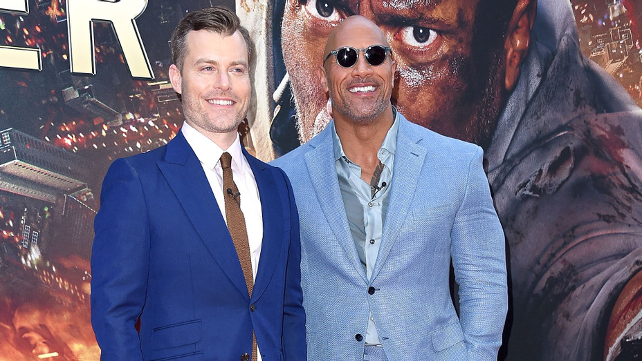 Rawson Marshall Thurber and Dwayne Johnson at the 'Skyscraper' Premiere - H Getty 2018