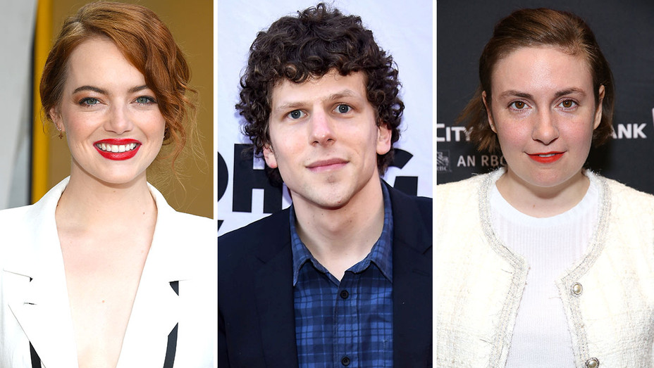 Emma Stone, Jesse Eisenberg and Lena Dunham Split-Getty-H 2018