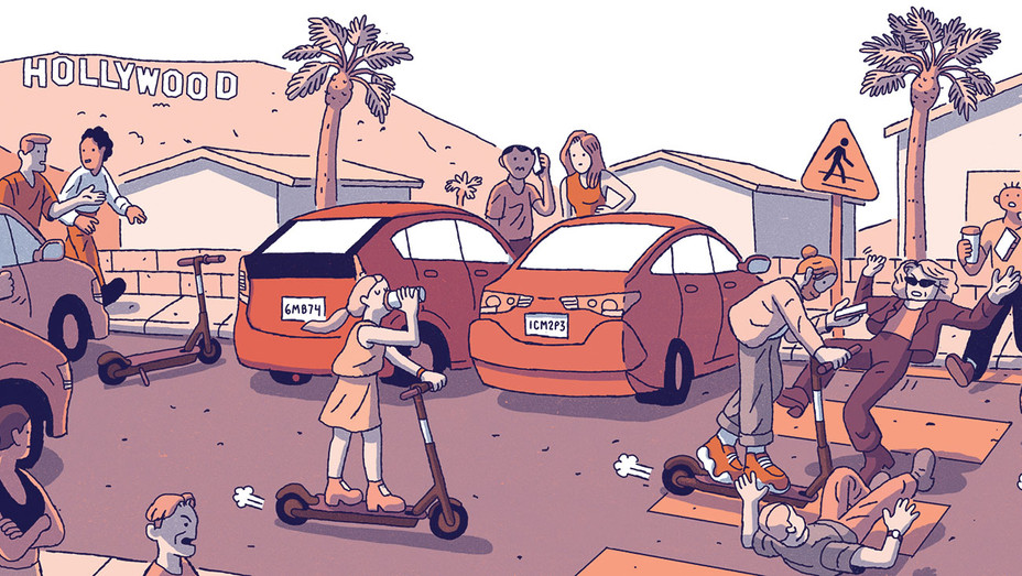 Why Bird Hunter Scooters Have Infested Los Angeles  - Illustration by Tim Peacock-H 2018