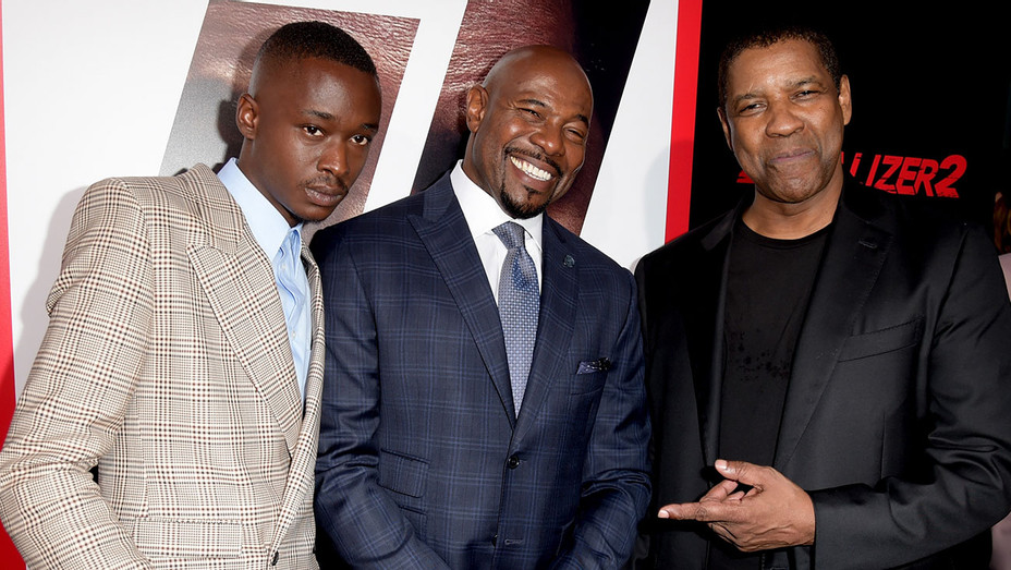 Equalizer 2 Premiere -Ashton Sanders, director Antoine Fuqua and actor Denzel Washington-Getty-H 2018