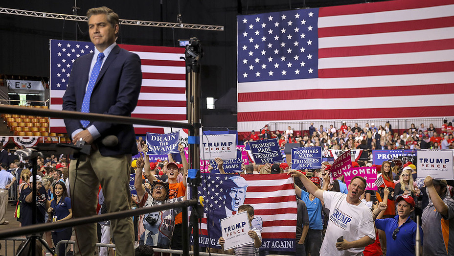 Jim Acosta works and supporters of U.S. President Donald Trump -May 29, 2018- Getty-H 2018