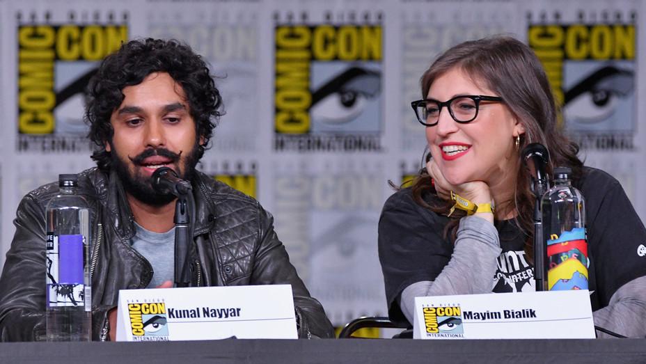 Kunal Nayyar and Mayim Bialik speak at Inside 'The Big Bang Theory' Writers' Room at Comic-Con - Getty - H 2018