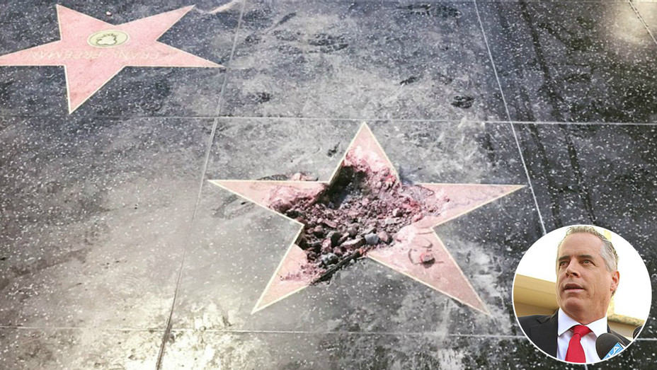Trump Hollywood Star Vandalized Inset - Staff - H 2018