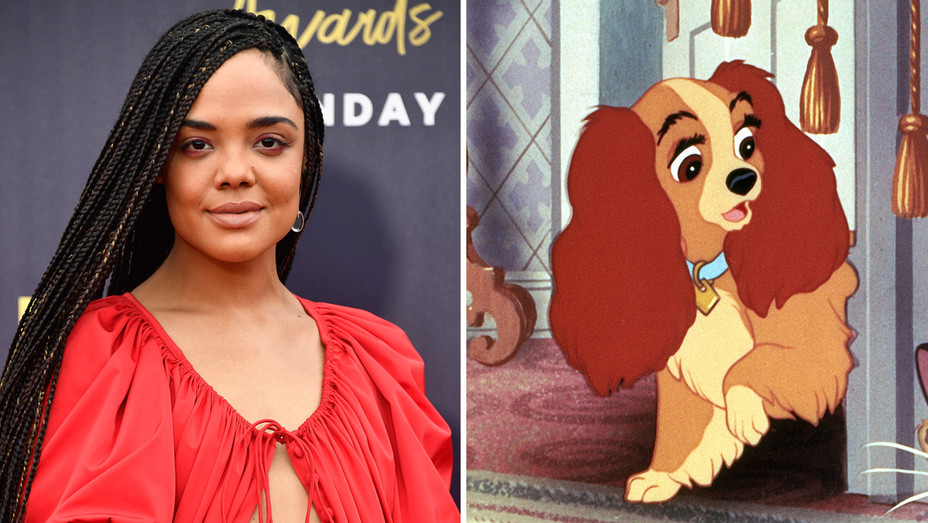 Tessa Thompson and Lady from Lady and the Tramp - Photofest - H Split 2018