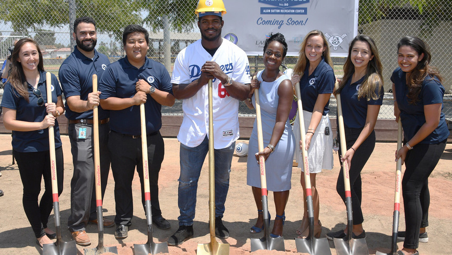 Yasiel Puig and Los Angeles Dodgers Foundation Host Historic Dodgers Dreamfield Groundbreaking - Publicity - H 2018