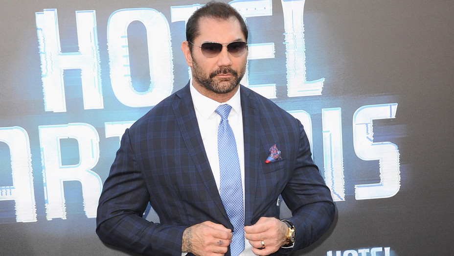 Dave Bautista arrives for the Global Road Entertainment's 'Hotel Artemis' - Getty - H 2018