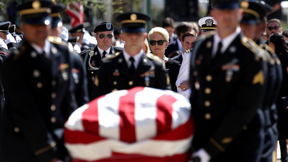Cindy McCain, wife of U.S. Sen. John McCain (R-AZ) walks behind his casket - August 29, 2018 - Getty-H 2018